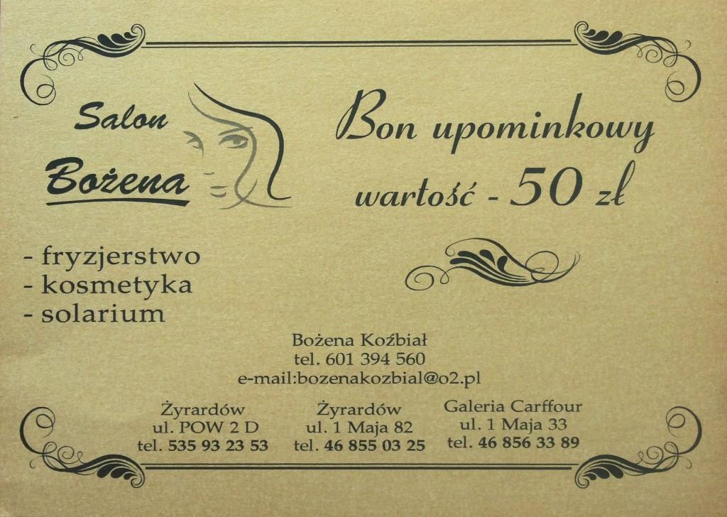 Salon Fryzjersko Kosmetyczny Bożena Żyrardów - Bon upominkowy